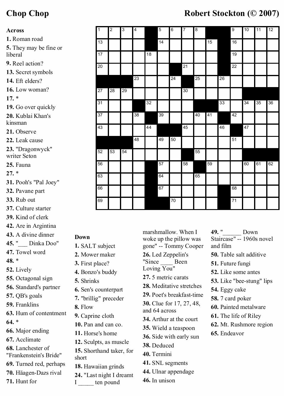 Free Online Crossword Puzzles