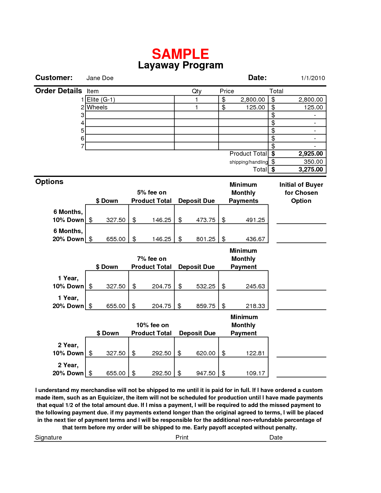 This is a photo of Fan Layaway Forms Printable