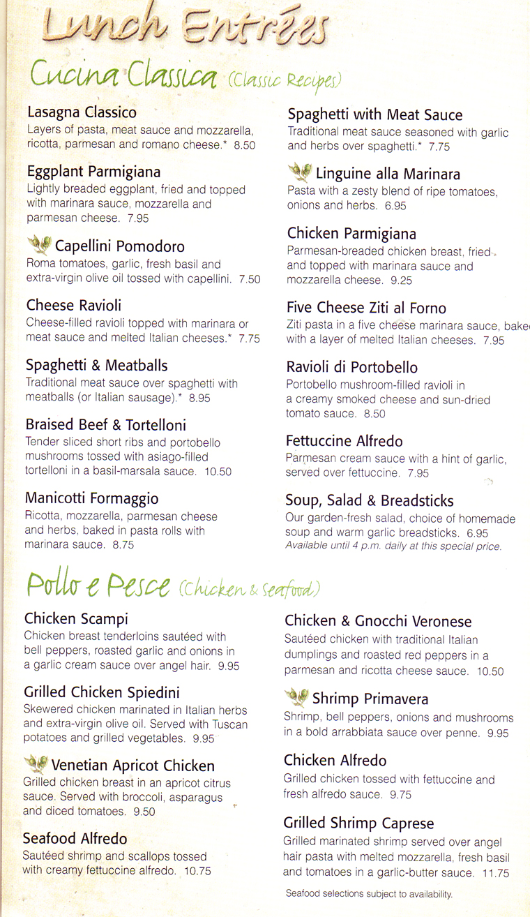 olive garden menu with prices lunch dinner kids to lobster house