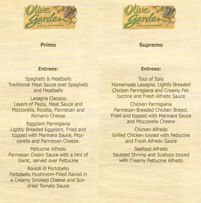 Olive Garden Menus 7 Best Images Of Olive Garden Menu Printable Olive Olive Garden Menu