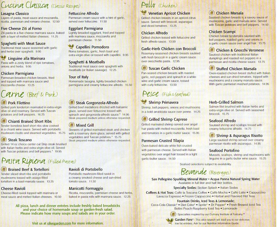 7 Images of Olive Garden Menu Printable