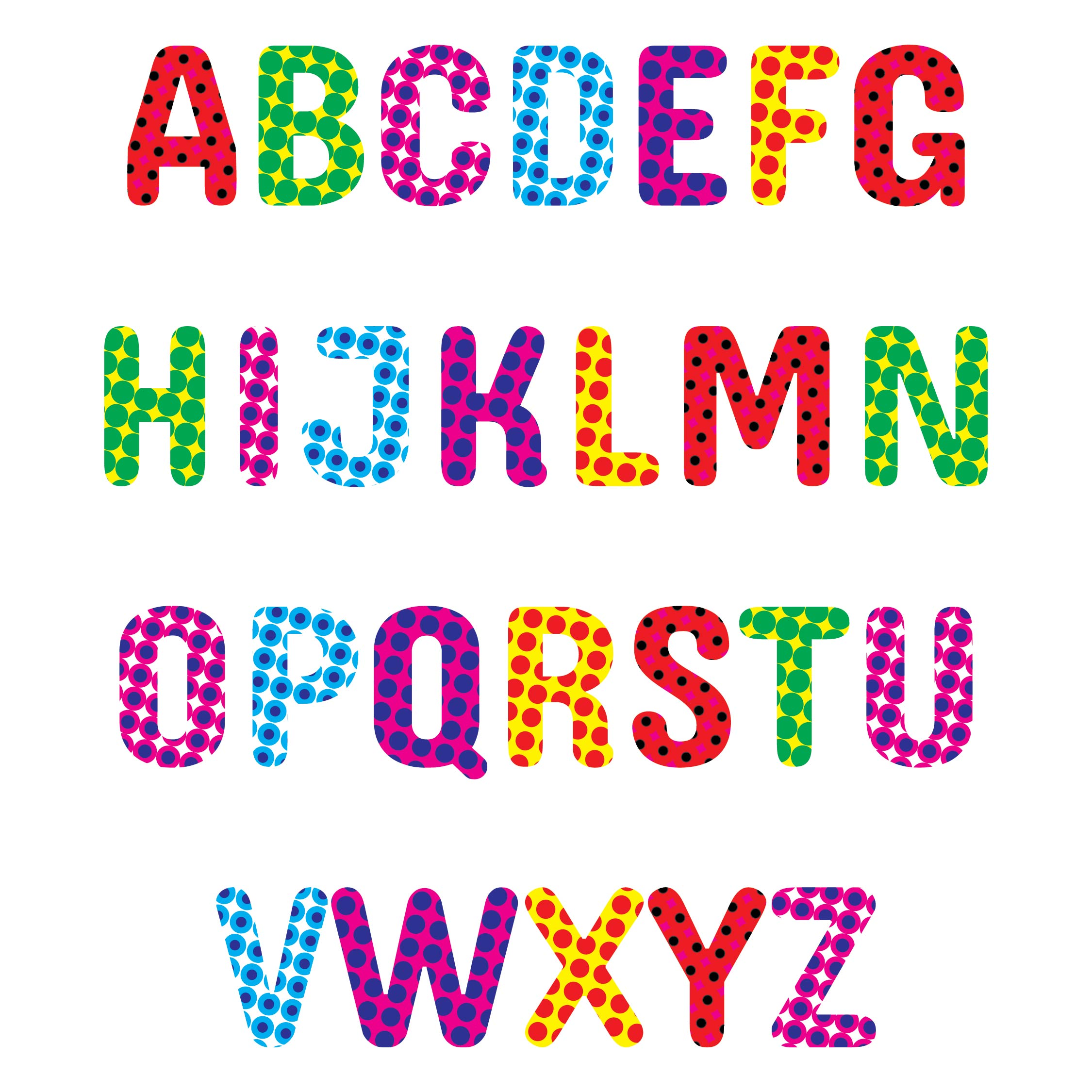 Polka Dot Alphabet Letters to Print