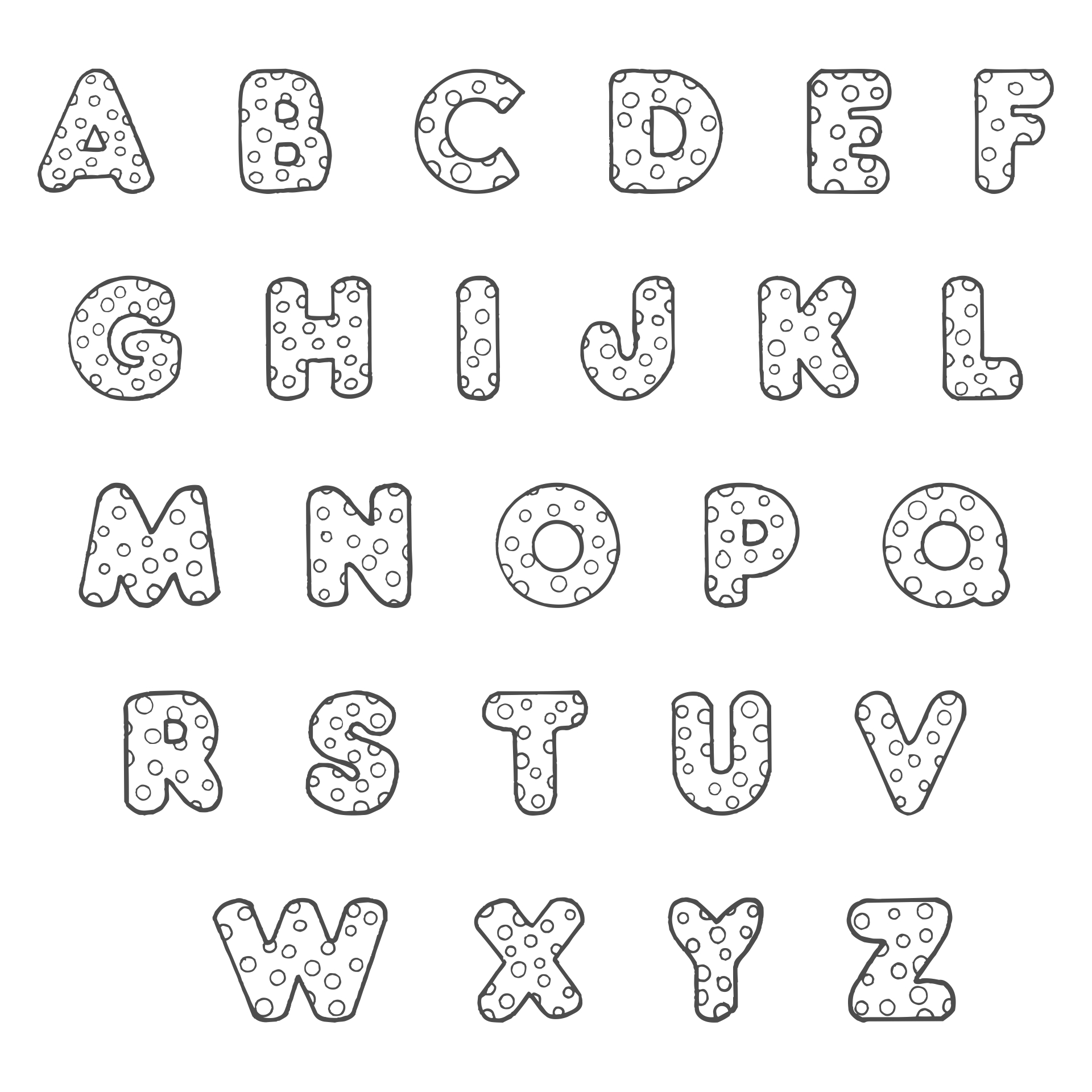 Polka Dot Bubble Letters Coloring Page