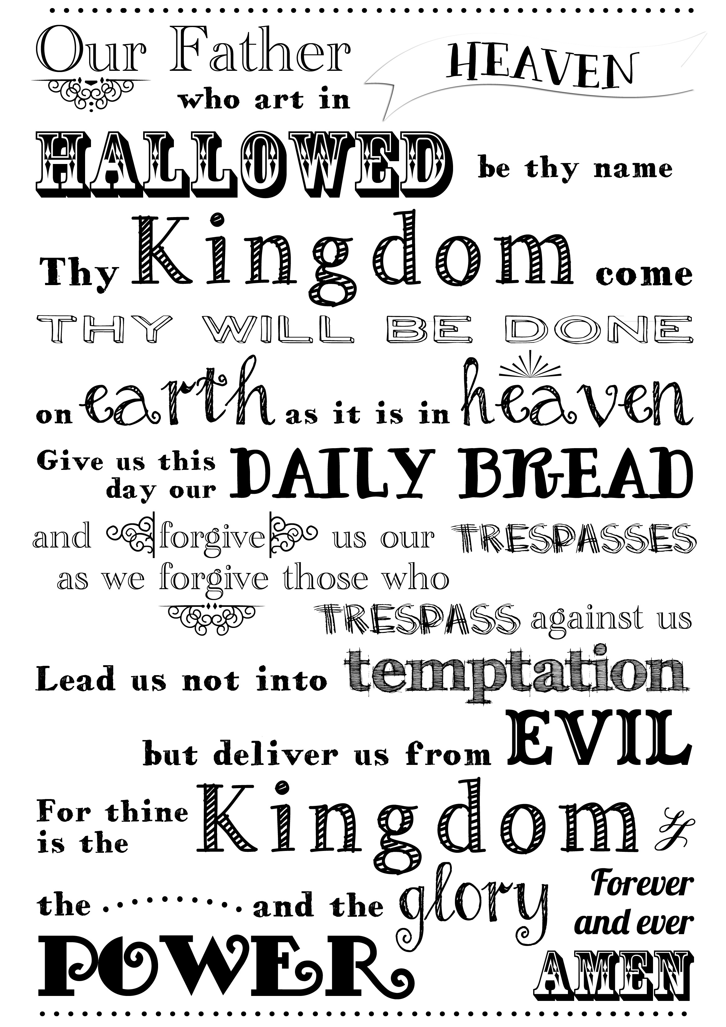 8 Images of The Lord's Prayer Free Printable