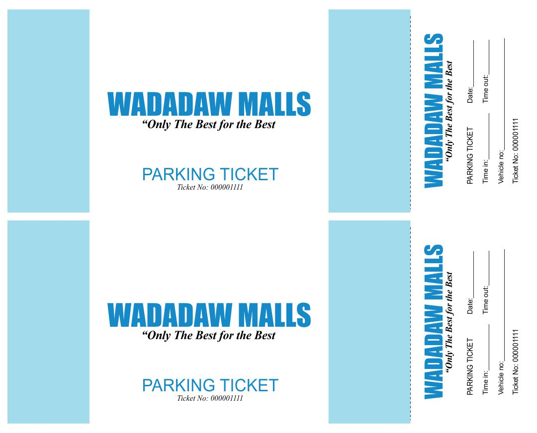 Printable Parking Ticket Template Free