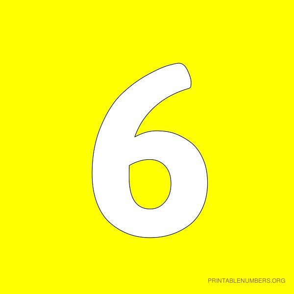 6 Images of Printable Numbers 4 Yellow