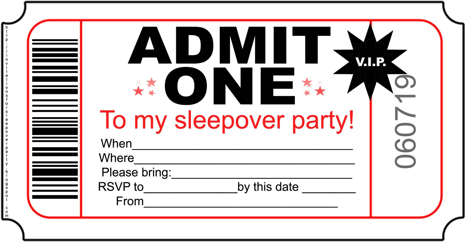 4 Images of Slumber Party Invitations Free Printable
