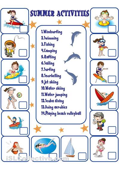Summer Activities Worksheets