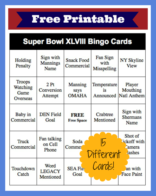 7 Images of 2014 Super Bowl Bingo Printable