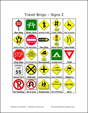 8 Images of Traffic Safety Bingo Printable
