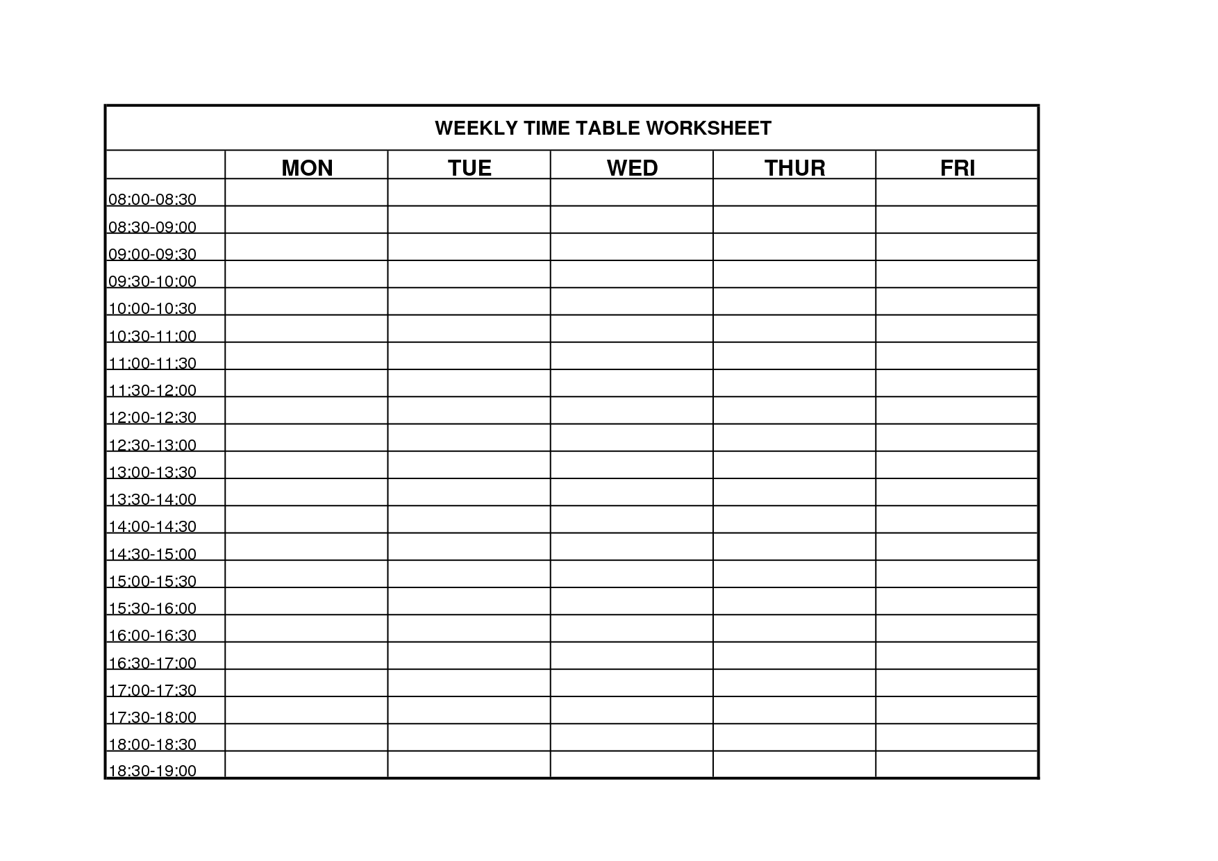 6 best images of printable weekly time chart blank for Time management grid template