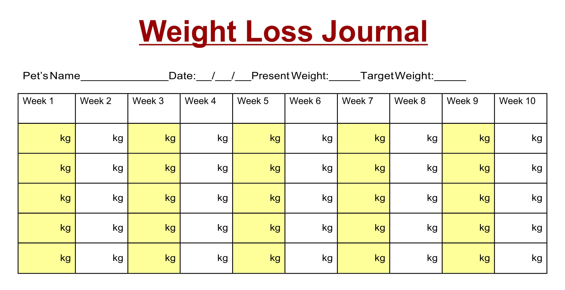 8 Images of Printable Weight Journal Templates