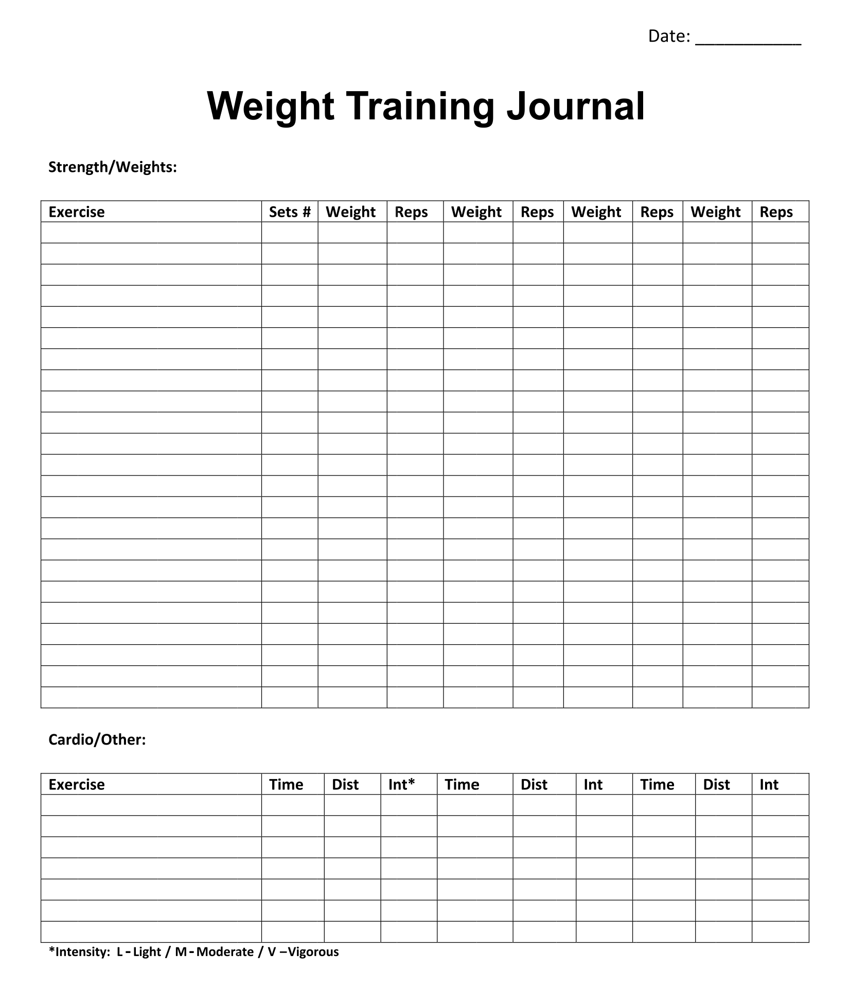 8 best images of printable weight journal templates for Training journal template