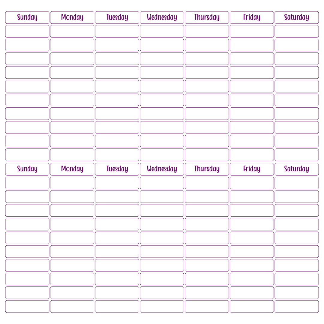 Printable 2 Week Calendar – Printable Pages