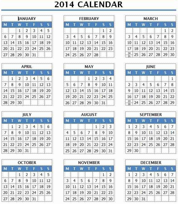 2016 Calendar Template Word