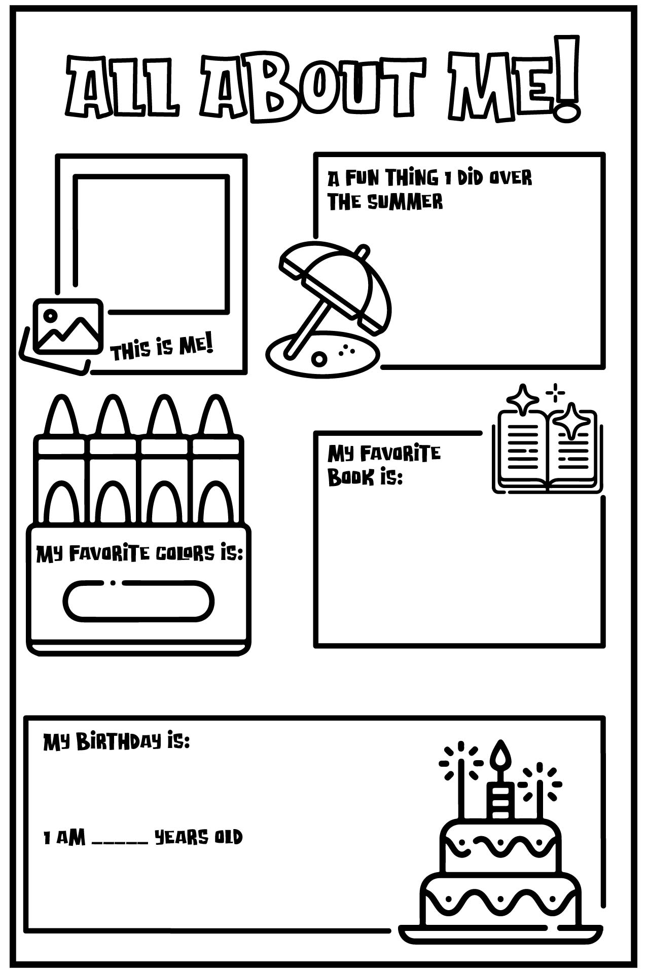 See All About Me Template Worksheet, All About Me Worksheets ...