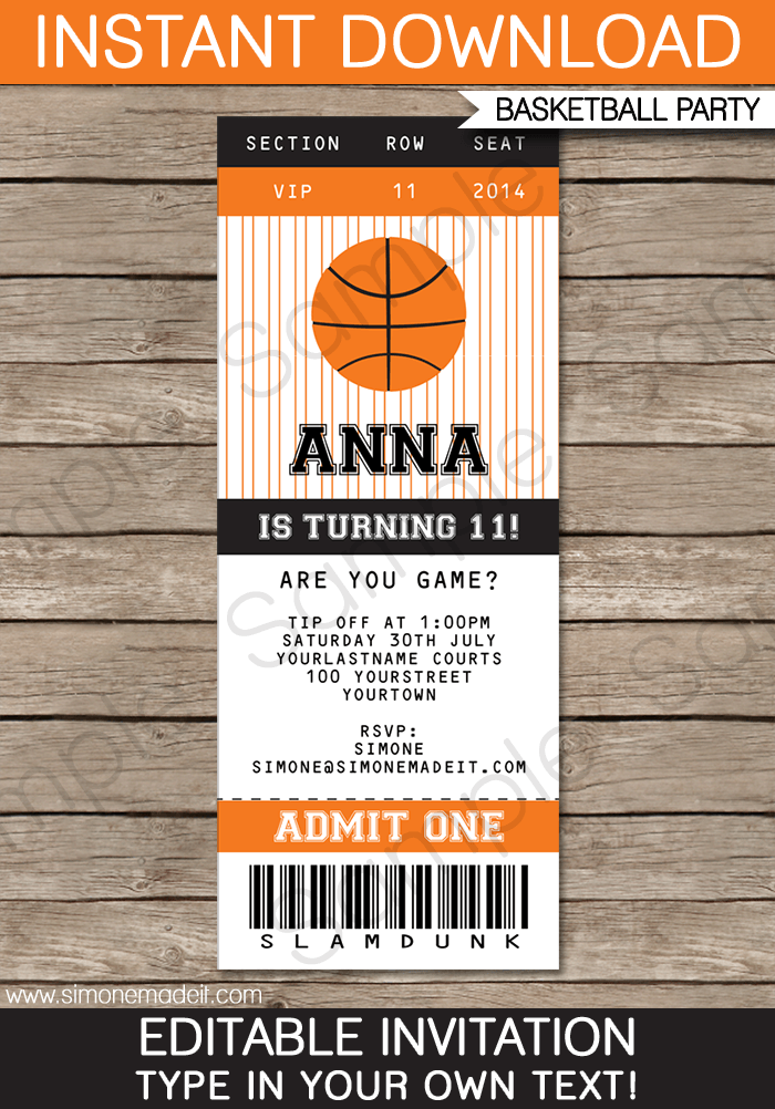 8 Images of Printable Basketball Ticket Invitation Templates