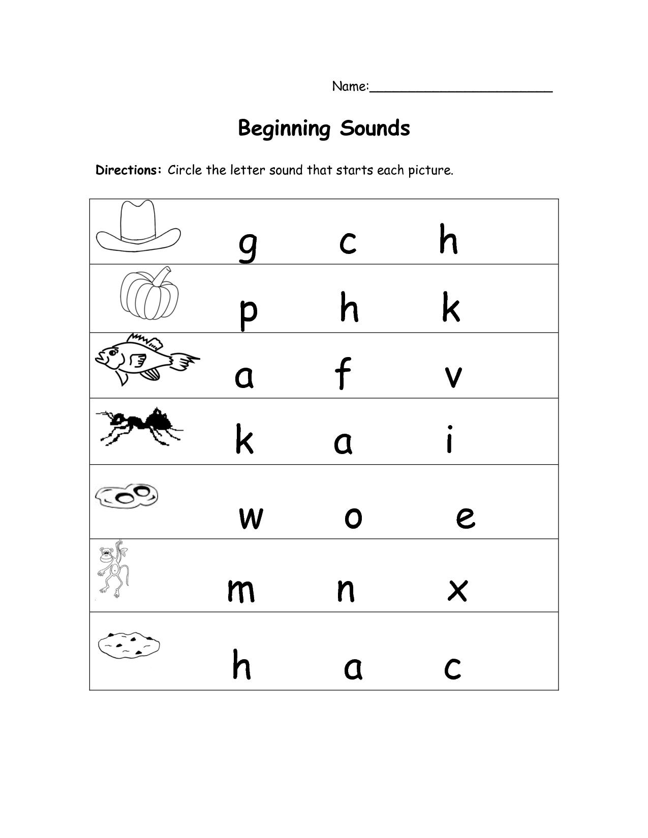 7 Best Images of Kindergarten Beginning Sounds Free ...