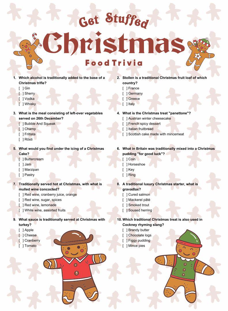 Christmas Food Trivia Questions and Answers Printable