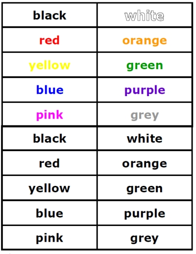 6 Images of Color Word Cards Printable