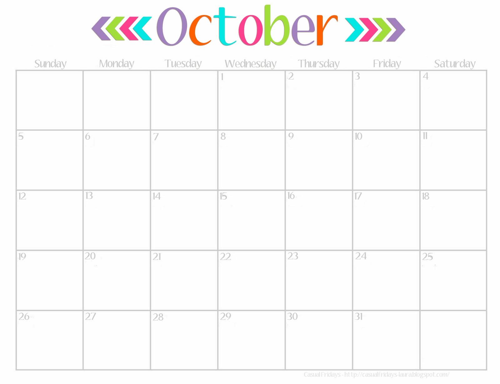 October Calendar Printable - I Heart Nap Time