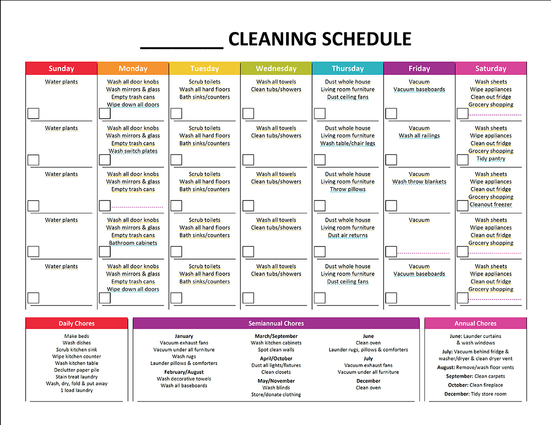 5 Images of Printable Blank Cleaning Schedule