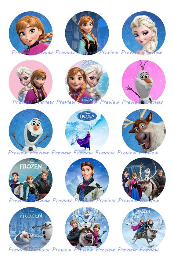 5 Images of Olaf Free Printable Bottle Cap