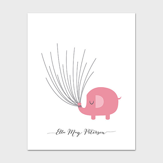 5 Images of Printable Fingerprint Baby Shower Elephant