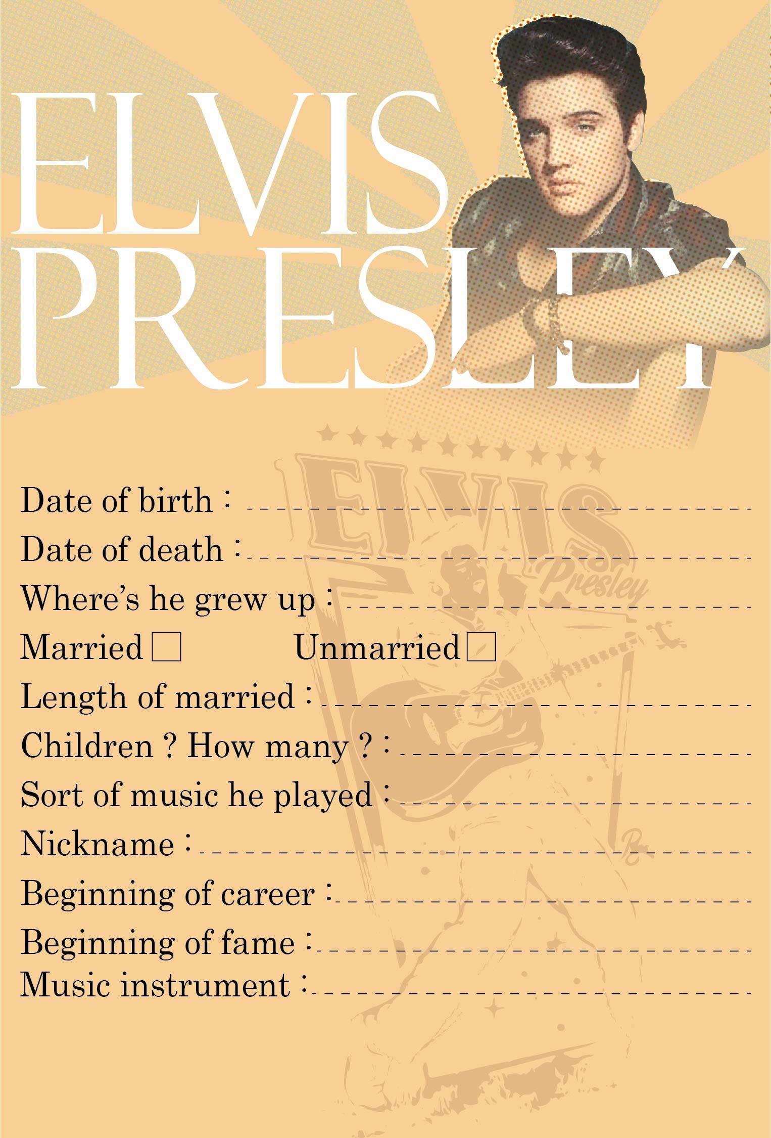 9 Images of Elvis Presley Printable Games