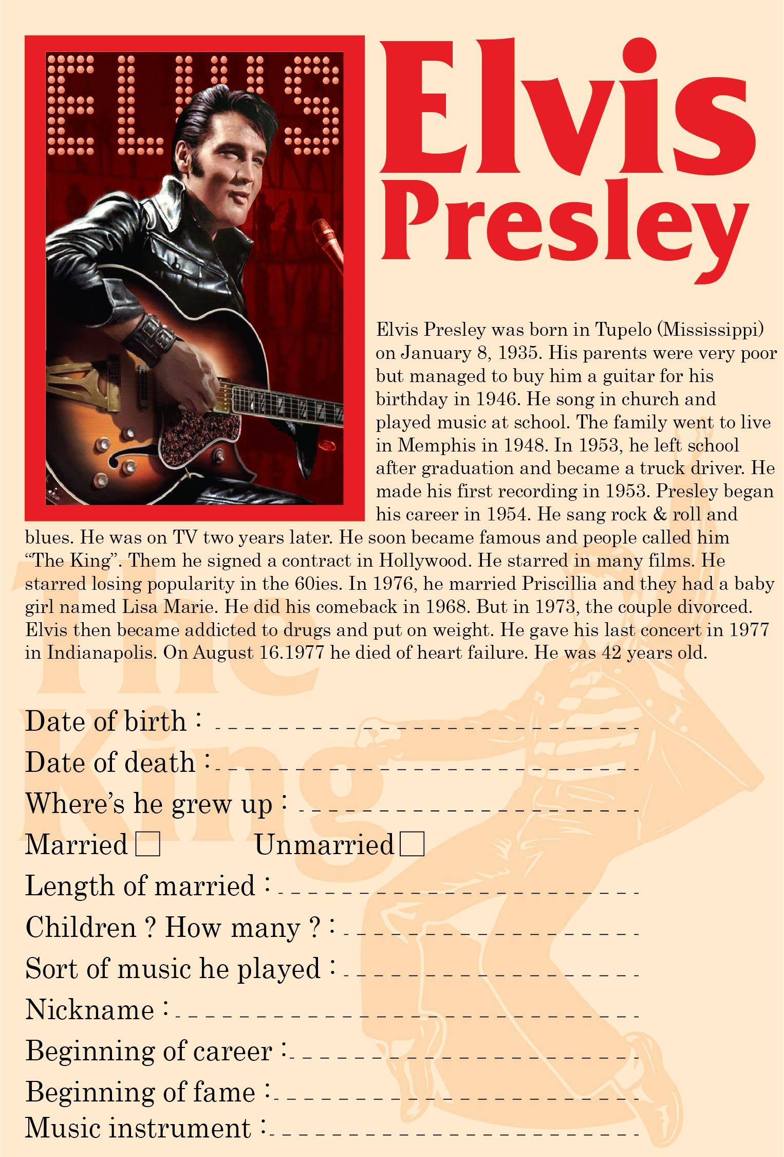 Elvis Presley Worksheet Printables