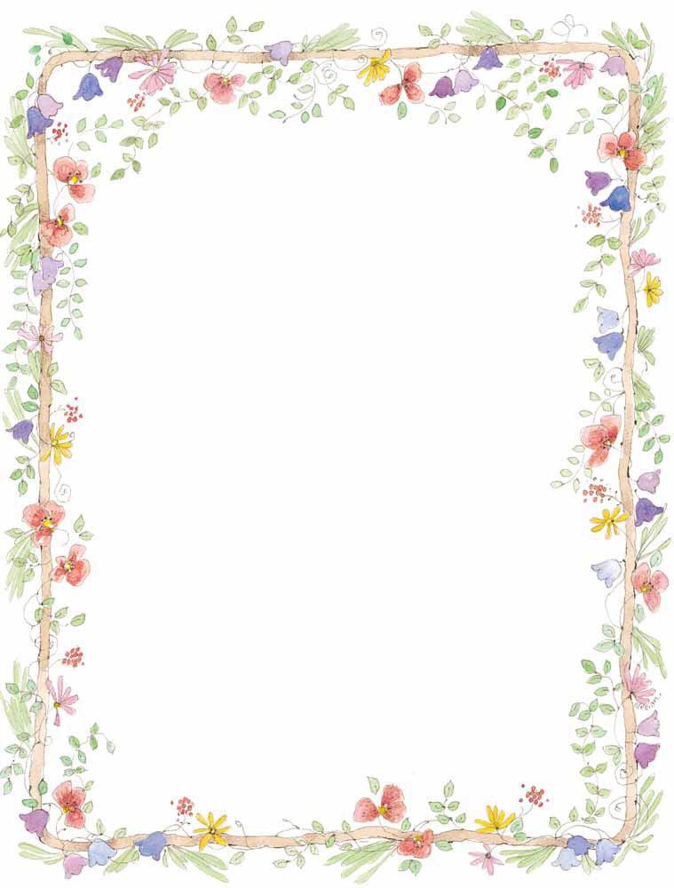6 Images of Printable Flower Border Wedding
