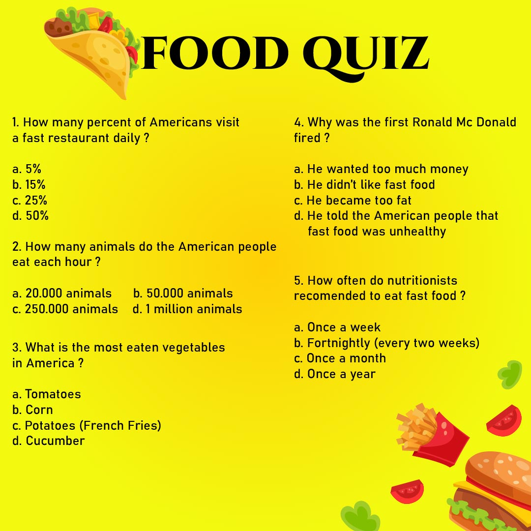 Printable Food Trivia Questions