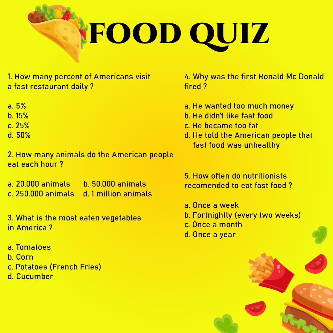 Food Quiz Printable