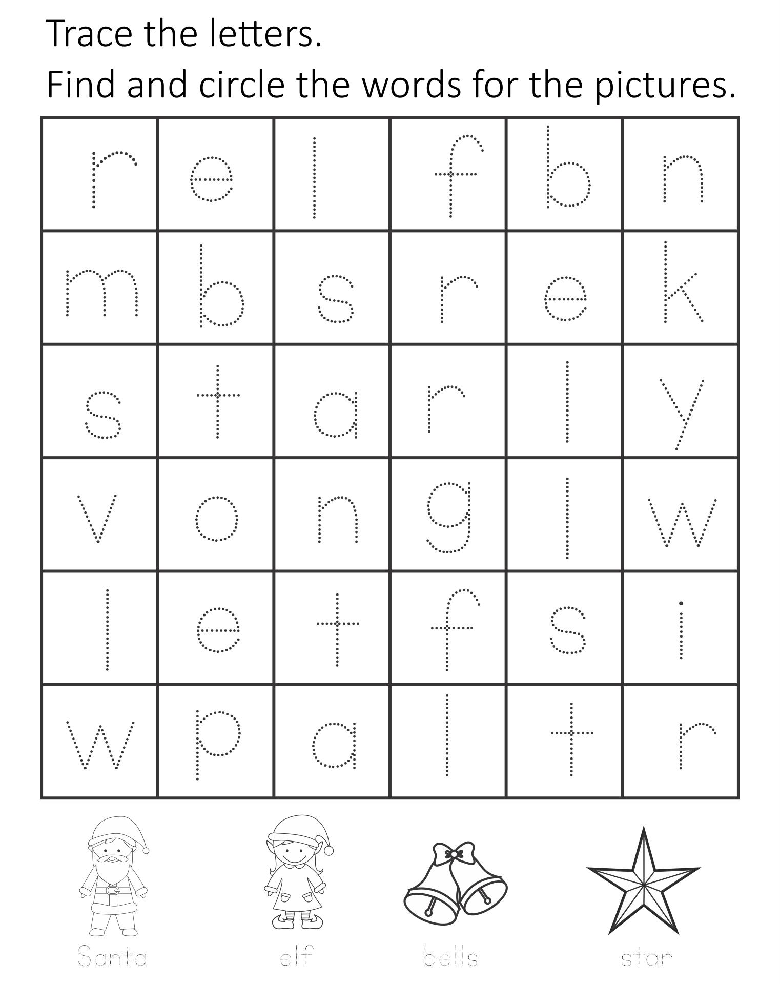 Christmas Kindergarten Worksheets Printable
