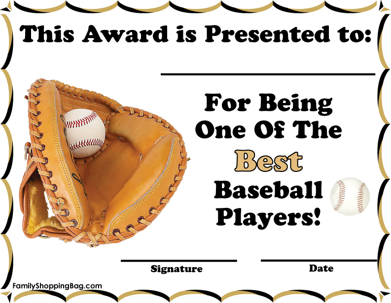 4 Images of Free Printable Baseball Award Certificate Template