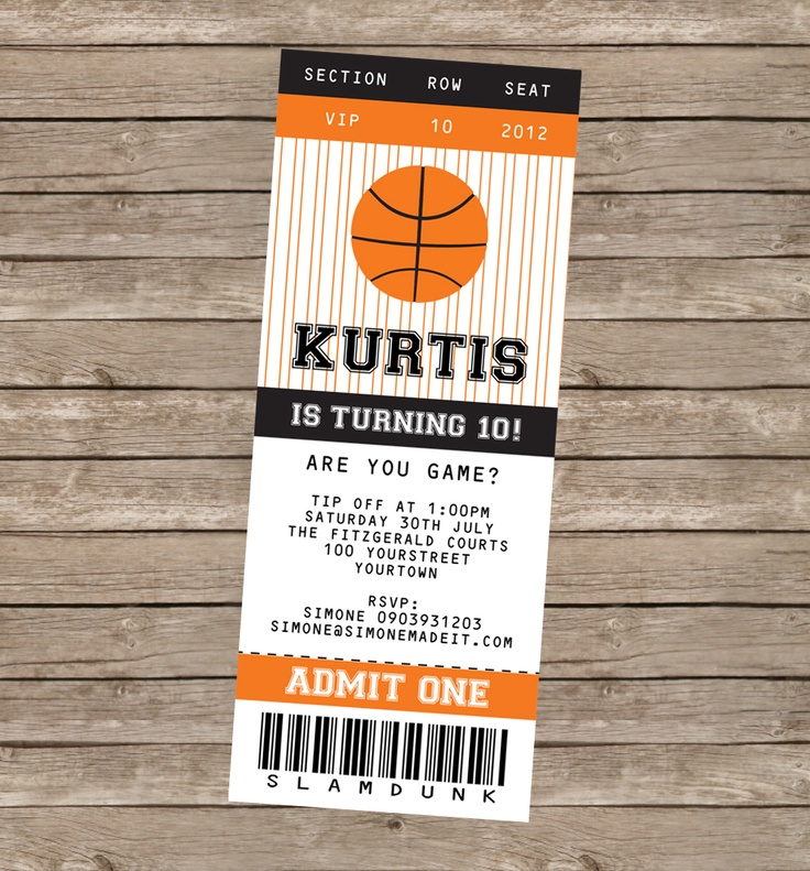 8 best images of printable basketball ticket invitation for Sports ticket template free download