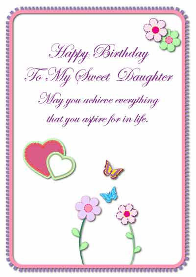 6 Images of Printable Daughter Birthday Cards