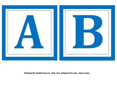 6 Images of Blue Banner Free Printable Letters