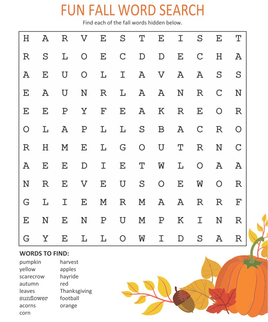 6 Images of Free Printable Fall Word Searches