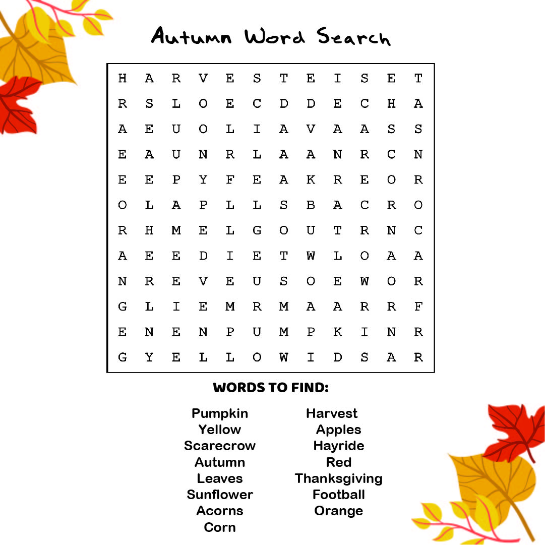 6 Best Free Printable Fall Word Searches Printablee Com
