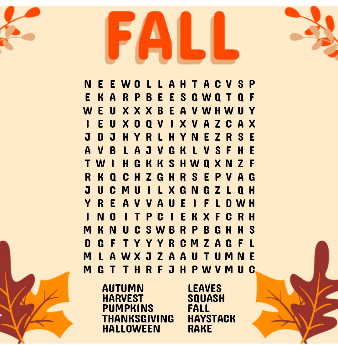 6 Best Free Printable Fall Word Searches - printablee.com