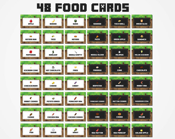 Free Printable Food Cards For Minecraft