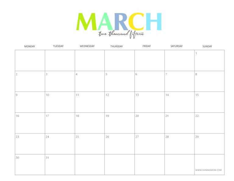 8 best images of free printable blank calendar 2015