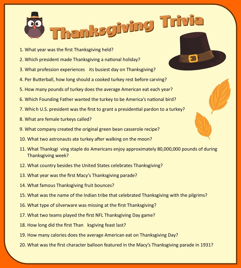 Printable Thanksgiving Trivia Game