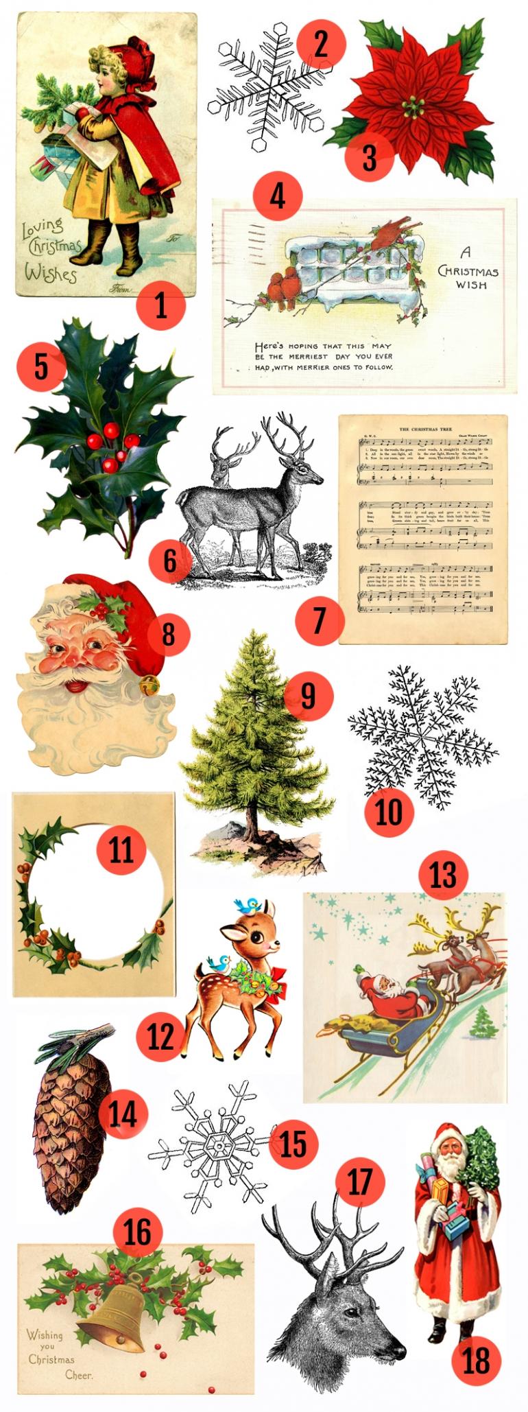 6 Images of Vintage Christmas Art Free Printables
