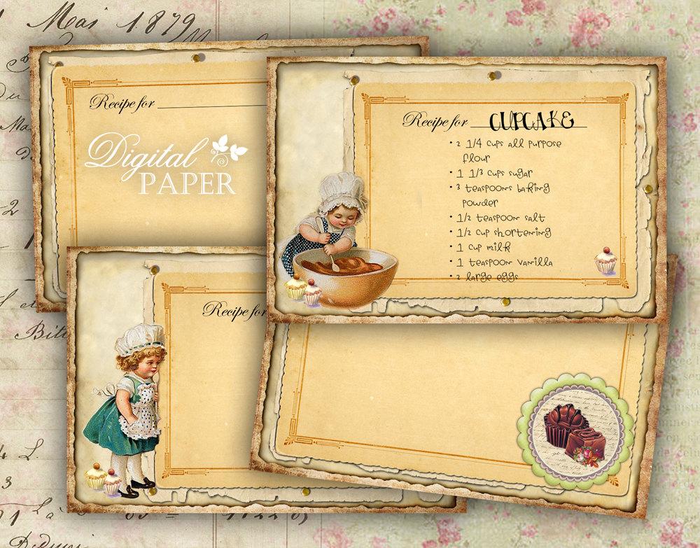 6 best images of vintage 4 x 6 printable recipe card
