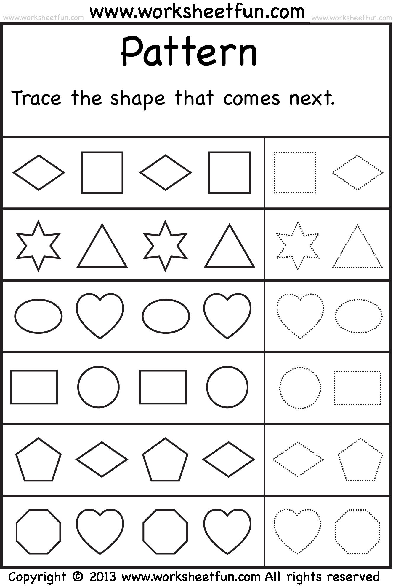 math worksheet : 8 best images of printable pattern worksheets  preschool pattern  : Kindergarten Free Worksheets