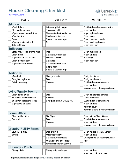 7 Images of Free Printable House Cleaning List