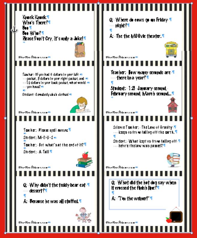 Kids Lunch Box Jokes Printable