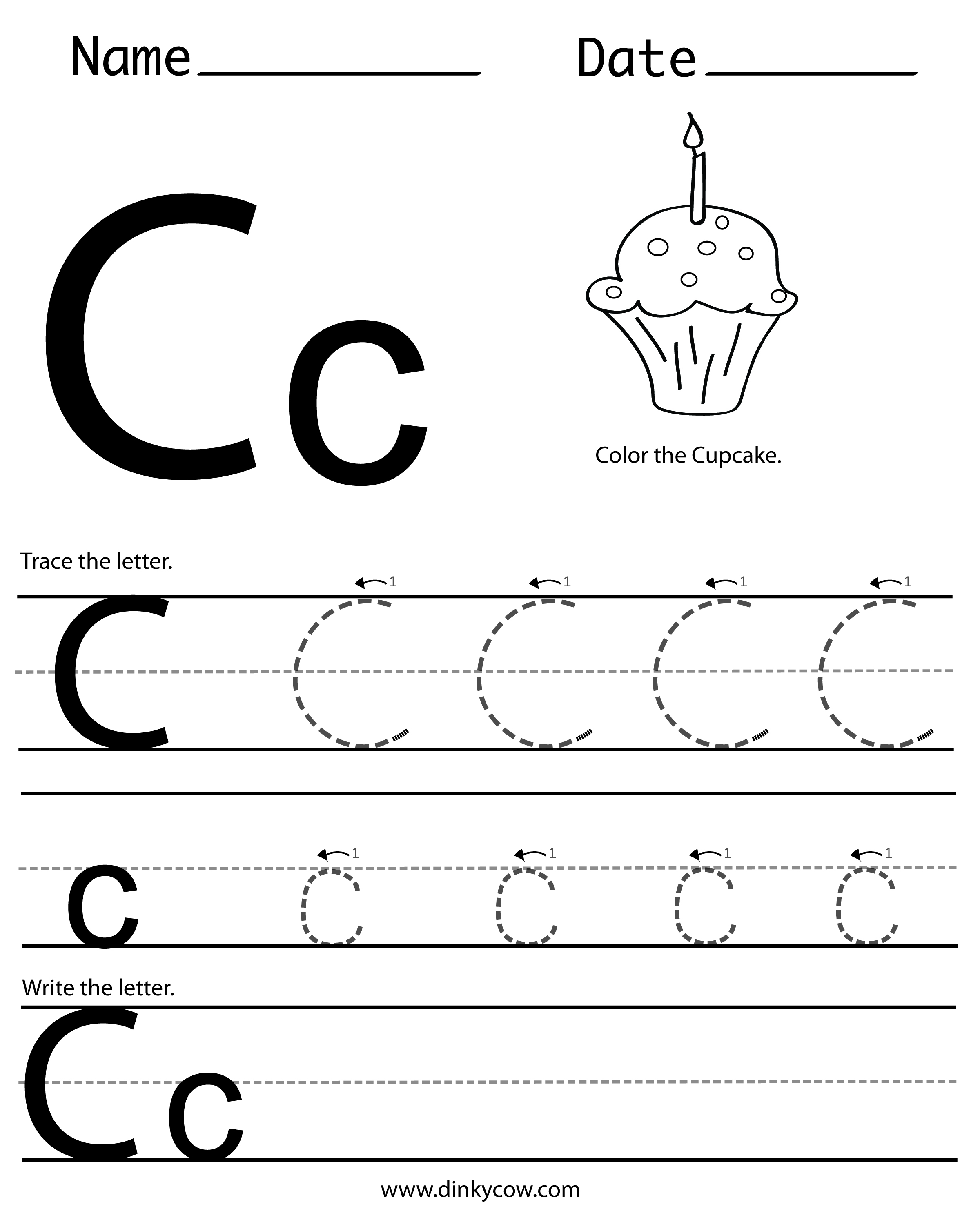 6 Best Images of Free Printable Preschool Worksheets Letter C ...